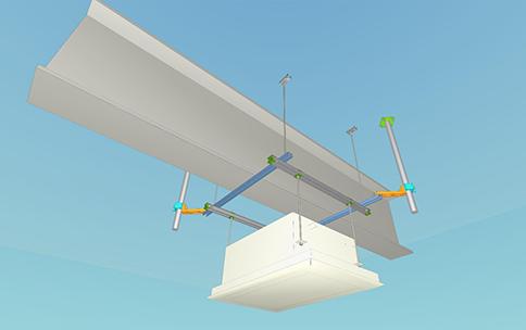 梁跨ぎ施工状況:支柱対角2本にて施工