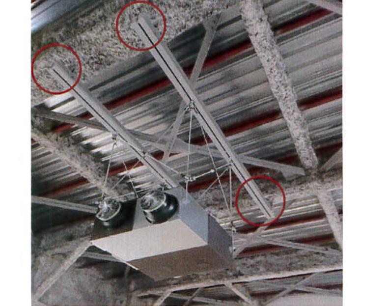 設備架台設置例(耐火被覆:吹付け鉄骨梁に対して)